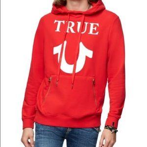 NWT True Religion Red Puffy Logo Hoodie